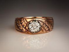 Art Nouveau Solitaire Diamond Gold Men's Ring - Antique Jewelry   Vintage Rings   Faberge Eggs