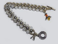 Swarovski Grey Pearl and Crystal Charm Bracelet