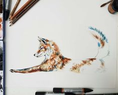 My studio desk is currently occupied by a very sweet fox. This is a current work in progress I'm hoping to release him tomorrow 😍 I can't wait to add the butterflies around him Watercolour, Watercolor Paintings, Studio Desk, Chloe Brown, London Art, Contemporary Artwork, Pet Portraits, Original Artwork, Butterflies