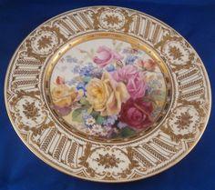 "Amazing Dresden Porcelain German Floral Plate w/ ""jewels"" Porzellan Teller #DresdenGerman"