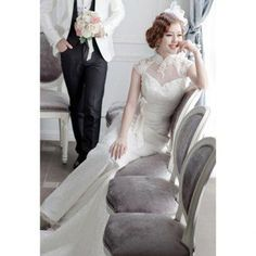 556b4d58752b Vintage style high necklink lace mermaid wedding dress Lace Mermaid Wedding  Dress, Gorgeous Wedding Dress