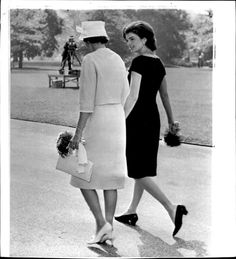 First Lady Jacqueline Kennedy with Mrs. Alan Shepard taking a walk through the south lawn, 1961.