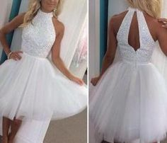 White Homecoming Dress,Princess Homecoming Dresses,Tulle Homecoming Dress