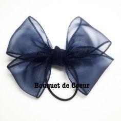 #123ネイビーNEWフェミニンリボンヘアゴム♡足なしタイプ Handmade ribbon hair accessory