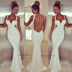 Wholesale Mermaid Prom 2014 Backless Spaghetti White Sequins Court Train Formal Dresses Gowns #15817, Free shipping, $107.44/Piece | DHgate Mobile