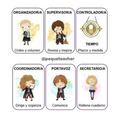 Roles de equipos cooperativos para tu aula ambientada en Harry Potter Harry Potter Classes, Harry Potter Classroom, Harry Potter Cartoon, Harry Potter Film, Class Dojo, Group Roles, Teaching Methodology, Math Groups, English Classroom