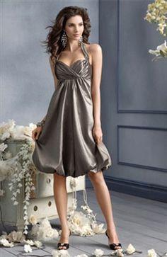 A-line Sleeveless Halter Bridesmaid Dress With Ruffles - OuterInner.com
