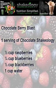Chocolate Berry Blast Shakeology Recipe: Blend & Enjoy! Calories: 252 Protein: 20 g Carbs: 42 g Fat: 1 g Saturated Fat: < 1 g Calories from Fat: 10