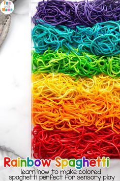 This Rainbow Spaghetti is super fun for the kids. This is an easy sensory activity and great for early learners. They'll love this colored spaghetti fun! Indoor Activities For Kids, Kids Learning Activities, Sensory Activities, Infant Activities, Rainbow Activities, Play Activity, Activity Ideas, Teaching Ideas, Animal Crafts For Kids