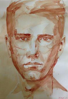 """Autoportrait """" peint avec mon propre sang sur papier aquarelle. painted with my own blood on watercolor's paper 21,3x30 jb©"""