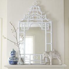 Mirrors - Reminiscent of traditional Chippendale design, our Pagoda Mirror will bring a touch of Asian-inspired architecture to your home. Faux-bamboo fashions this . Decor, Chinoiserie Decorating, Asian Decor, Foyer Decorating, Decor Interior Design, Chinoiserie Chic, Chippendale Design, Vintage Home Decor, Decorating Small Spaces
