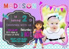 Dora and Friends Birthday Party Invitation Invite Dora the Explorer Chalkboard