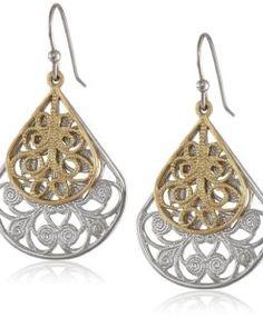1928 Jewelry Two-Tone Vine Filigree Teardrop Earrings Diy Jewelry, Silver Jewelry, Jewelry Accessories, Jewelry Making, Teardrop Earrings, Women's Earrings, Crochet Earrings, Everyday Items, Fashion Earrings