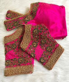 All Ethnic Customization with Hand Embroidery & beautiful Zardosi Art by Expert & Experienced Artist That reflect in Blouse , Lehenga & Sarees Designer creativity that will sunshine You & your Party Worldwide Delivery. Pattu Saree Blouse Designs, Blouse Designs Silk, Designer Blouse Patterns, Bridal Blouse Designs, Hand Work Blouse Design, Simple Blouse Designs, Stylish Blouse Design, Simple Designs, Aari Embroidery