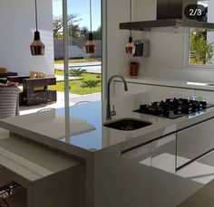 Beautiful fully lit kitchen integrated with the leisure area. Pass to the side and … E Design, Interior Design, Wall Treatments, Home Decor Trends, Inspired Homes, Home Accents, Living Room Furniture, Home Accessories, Kitchen Island