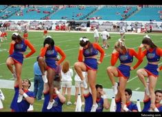 This made me think of Morgan and Tamera. Florida Gators Football, Gator Football, College Football, High School Cheerleading, Cheerleading Outfits, Ben Hill, Cheerleader Images, Cheer Picture Poses, Vanderbilt Commodores