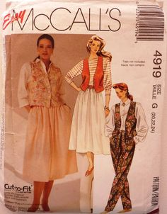 Uncut McCall's 4919 Sewing Pattern Size 20,22,24 Ladies Vest Skirt Pants by AnnaMareeCreatively on Etsy