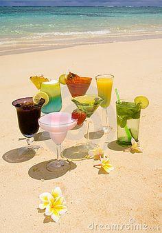 Tropical Drinks   Tropical Drinks On A Hawaiian Beach Royalty Free Stock Photos - Image ...