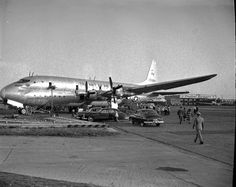 https://flic.kr/p/dGdqLG | Chicago Municipal Airport - Lockheed R6V Constitution |  Lockheed R6V Constitution on dispay in Chicago, June 6, 1949..The Lockheed R6V Constitution was a large, propeller-driven, double-decker transport aircraft developed in the 1940s by Lockheed as a long-range, high capacity transport and airliner for the U.S. Navy and Pan American Airways. (The Constitutions were identified as R6O until 1950.) Only two of the aircraft were ever built, both prototypes. Although…