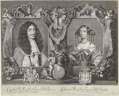 Portrait of Charles II, King of England and his wife Catharina of Braganza, Frederick Hendrick van den Hove, George Baker, 1662 - 1698.
