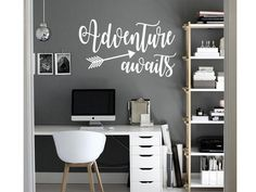 ADVENTURE AWAITS Vinyl Wall Art Decal Sticker Decor Lettering Quote Wanderlust $8.93