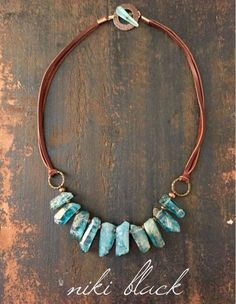 Leather & stone necklace - Ocean Blue. Just listed at Legally Boho Jewelry. Check it out: www.legally-boho-jewelry.com