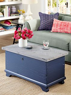 Basswood strips glued in a herringbone pattern and stained soft gray give this chest a cool chevron look.
