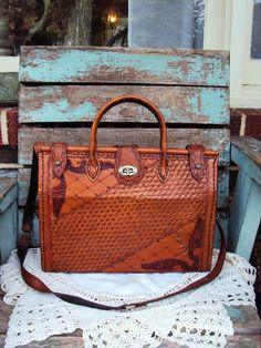 Vintage Tooled Leather Purse Handbag Brown by primitivepincushion