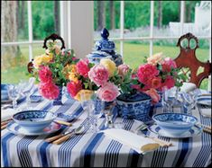"""spring table from """"A Passion for Blue and White"""" by Carolyne Roehm"""