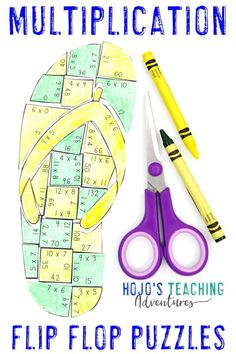 Flip Flop Activities for Kids These MULTIPLICATION flip flop puzzles are great for math centers, rev Math Crafts, Math Projects, 4th Grade Crafts, 5th Grade Classroom, Fourth Grade Math, Maths Puzzles, Activities For Kids, Practice Math Problems, Elementary Math