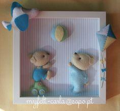 Cadre avec les ours en feutrine : Jeux, peluches, doudous par mobile-bebe