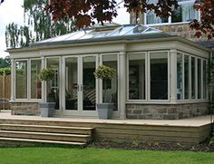 oak framed conservatory orangery - Google Search Back Porches, Screened In Porch, Room Doors, Orangery Extension, Rear Extension, Extension Ideas, Glass Porch, Contemporary Garden Rooms, Porch Enclosures