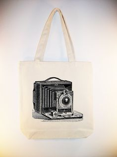 Vintage Camera Illustration Canvas Tote - Larger zip top tote style and personalization available