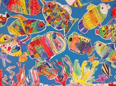 """Pattern Fish - Apex Elementary Art.  This became an enormous mural entitled """"First Grade Aquarium."""""""