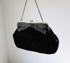 vintage 1950's black velvet purse