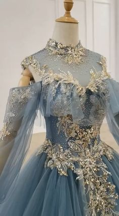 Vintage dusty blue ball gown prom dresses gold lace appliqued quince dress f Blue Ball Gowns, Ball Gowns Prom, Ball Dresses, Evening Dresses, Dresses For Balls, Designer Evening Gowns, Afternoon Dresses, 15 Dresses, Cute Prom Dresses