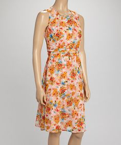 Love this Peach Floral Fit & Flare Dress by Shelby & Palmer on #zulily! #zulilyfinds