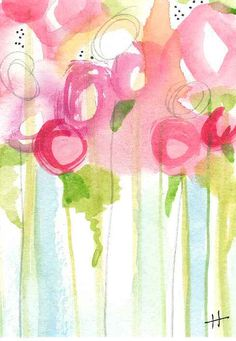 Rosegarden in rain, ACEO #StudioB3Arts by Heidi Lumpkin.  Watercolor, Ink.  www.studiob3arts.com, ©2016