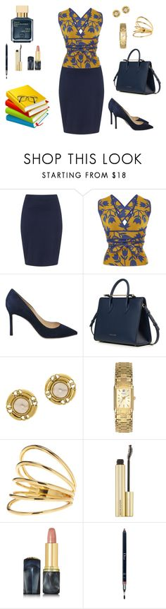 """conjunto376"" by lauracabrera-2 ❤ liked on Polyvore featuring Zizzi, Pepa Pombo, Jimmy Choo, Strathberry, Chanel, Caravelle by Bulova, Gorjana, Oribe, Christian Dior and John Lewis"