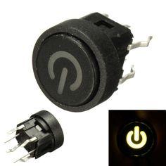 [US$4.77] 5Pcs Green LED Power Symbol Momentary Latching Switch LED Light Push Button SPST #5pcs #green #power #symbol #momentary #latching #switch #light #push #button #spst