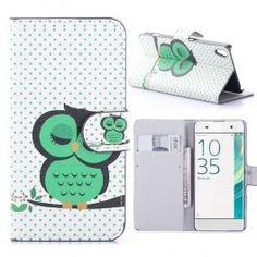 Sony Xperia XA vihreä pöllö puhelinlompakko.