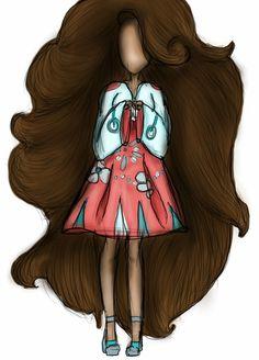 GIRL IN A GIRLY KIMONO WITH VERY LONG HAIR