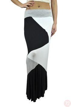 Belle Donne Women's Ankle Length Color Block Skirts