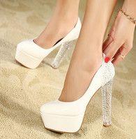 fluorescent pumps shoes - 2015 Fluorescent Color Women Pumps cm High Heels Single Shoes Thick Heel Platform Women s Shoes Leather High Heeled Bling