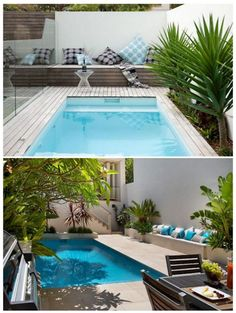 GabiLio Home and Garden: Modern swimming pools for small back gardens. Backyard Pool Designs, Small Backyard Pools, Outdoor Pool, Backyard Landscaping, Indoor Pools, Small Swimming Pools, Small Pools, Swimming Pool Designs, Small Back Gardens