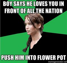 Boy says he loves you in front of all the nation. Push him into flower pot.