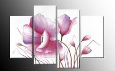 Pink+Wall+Art+Canvas | Pink Floral Canvas Flower Painting Wall Art Split Multi 4 Panel RDY 2 ...
