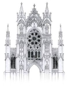 Greek Architecture - gothic facade with rose window by dashinvaine - Gothic Architecture Drawing, Architecture Antique, Detail Architecture, Cathedral Architecture, Classical Architecture, Windows Architecture, Gothic Cathedral, Gothic Castle, Architecture Religieuse