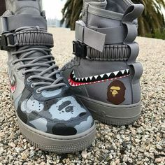 Behind The Scenes By insane sneaker Bape Sneakers, Sneakers Fashion, Fashion Shoes, Shoes Sneakers, Custom Sneakers, Custom Shoes, Polo Sport, Nike Sf Af1, Tenis Casual