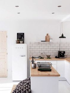 modern black and white kitchen with smeg fridge. / sfgirlbybay